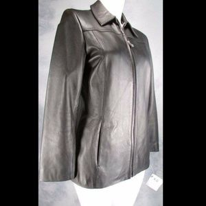 Alfani Womens Black Leather Zip Jacket Size XS